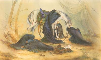 تصویر باکیفیت تابلوی عصر عاشورا اثر استاد فرشچیان