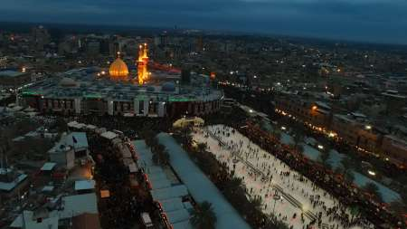 فیلمبرداری هوایی از بین الحرمین در ایام اربعین حسینی
