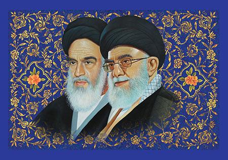 نقاشی چهره امام خمینی (ره) و امام خامنه ای